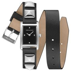 Rebecca Minkoff Moment Silver Tone Studded Leather Wrap Watch, 19Mm X... ($200) ❤ liked on Polyvore featuring jewelry, watches, accessories, silver, studded watches, rebecca minkoff jewelry, silver dial watches, silvertone jewelry and wrap watch