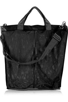 + I B&B leather-trimmed mesh shoulder bag #handbag #women #covetme #finds