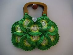 Green crocheted bag, wooden handles, mixed color, round, 1 pc