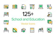 125+ School and Education Icons by Creative Stall on Creative Market