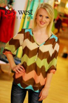 """The """"Sophie"""" Blouse.  S, M, L.  ~ 105 West Boutique located in Abbeville, SC.  (864) 366-WEST.  Look for us on Facebook!"""