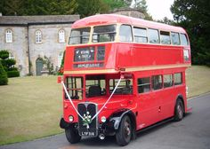 Red London double decker bus hire; Classic wedding transport