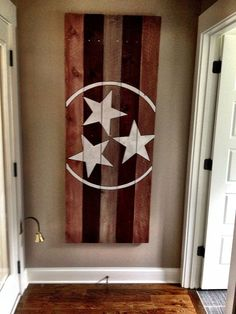 Do this as one stain color instead (Tennessee State Flag by 12thsouthliving on Etsy, $150.00)