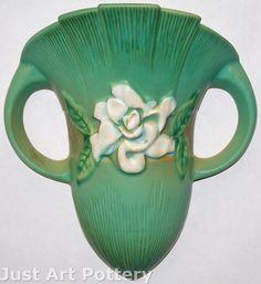 Roseville Pottery Gardenia Green Wall Pocket 666-8 from Just Art Pottery