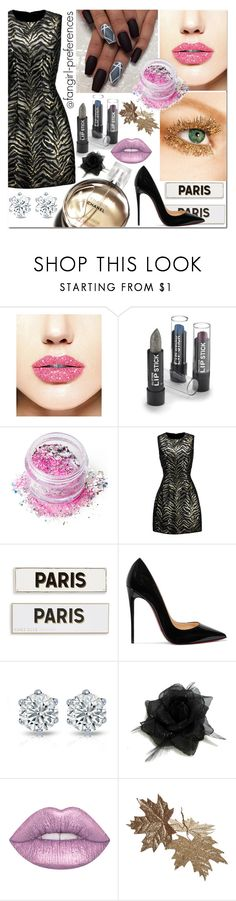 """""""So Sparkly: Glitter Lips"""" by fangirl-preferences ❤ liked on Polyvore featuring In Your Dreams, Roberto Cavalli, Chanel, Rosanna, Christian Louboutin and glitterlips"""