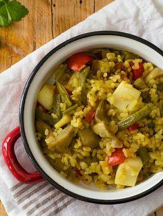 paella de verduras y sepia