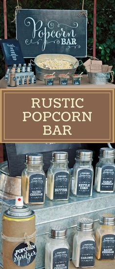 Farmhouse style party decor, chalkboard style labels to create a rustic serving idea for a popcorn, Popcorn Bar sign plus individual labels for different shakers and flavorings, neat party theme for a rustic barn wedding, cowboy birthday party, family reu