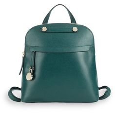 Furla Classic Leather Backpack ($300) ❤ liked on Polyvore featuring bags, backpacks, green backpack, day pack rucksack, green leather backpack, genuine leather backpack and backpack bags