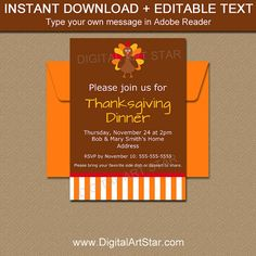 instant download thanksgiving invitation template printable