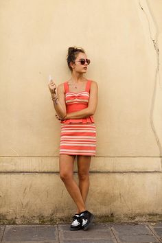 love the dress, coral stripes w/ cute peplum detail.  don't love the shoes.