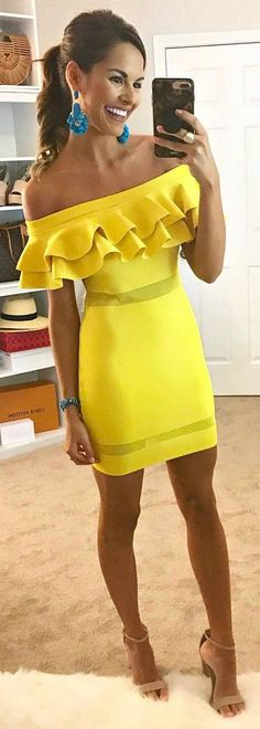 #spring #outfits yellow shoulderless pencil dress, sandals