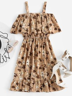 Shop Floral Print Random Frill Hem Layered Dress at ROMWE, discover more fashion styles online. Girls Fashion Clothes, Teen Fashion Outfits, Cute Fashion, Fashion Dresses, Fashion Styles, Trendy Dresses, Simple Dresses, Cute Dresses, Casual Dresses