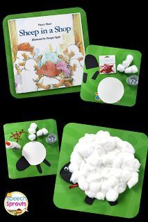 Speech therapy storybook fun with Sheep in a Shop plus a cute lamb craft for spring! Read this blog post by Speech Sprouts http://www.speechsproutstherapy.com