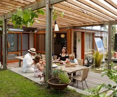 Although their house was small and pokey, architects Julian Mitchell and Rachel Dodd built a deck first which created some much-needed extra living space