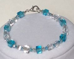 Aqua & Clear Cube Crystal Beaded Bracelet, Beaded Bracelet, Crystal Bracelet, Frozen Bracelet, Ice Cube Bracelet, Pretty, Item 493250789 by CreationsByLacieK on Etsy