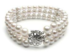 triple-strand akoya bracelet, pretty clasp in 14k white gold