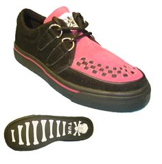T.U.K. - 2 Ring Creeper - Black with Pink 2 Ring CreeperWedge SoleBlack with PinkSizes 3-8 http://www.comparestoreprices.co.uk/shoes/t-u-k--2-ring-creeper--black-with-pink.asp