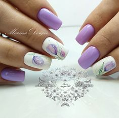 """If you're unfamiliar with nail trends and you hear the words """"coffin nails,"""" what comes to mind? It's not nails with coffins drawn on them. It's long nails with a square tip, and the look has. Spring Nail Art, Nail Designs Spring, Spring Nails, Nail Art Designs, Summer Nails, Tulip Nails, Flower Nails, Trendy Nails, Cute Nails"""