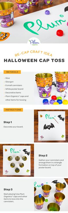 Get kiddos in the #Halloween spirit with this #DIY Recap toss game that's fun for the whole fam!    #Crafts #PlumOrganics #KidsCrafts #KidsGames #HalloweenDecor #Recap