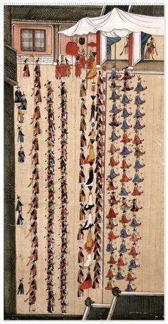 [국립고궁박물관] 정조의 화성행차 그림(병풍) = 화성행행도華城行幸圖 1795년 -- <(3)봉수당진찬도(奉壽堂進饌圖) : 혜경궁의 만수무강을 기리는 잔치 {기록문화실} : 네이버 블로그 Warfare, Folk, Holiday Decor, Drawings, Pictures, Korean, Paintings, Home Decor, Photos