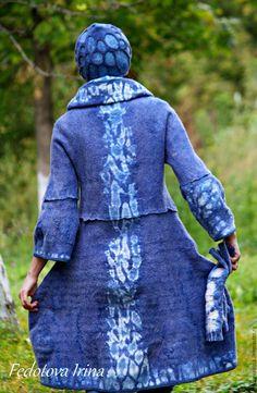 """Купить Платье-свитер(пальто-балахон) """"Шибори"""".Коллекция""""Калейдоскоп"""". - голубой, абстрактный, пальто, платье, свитер"""