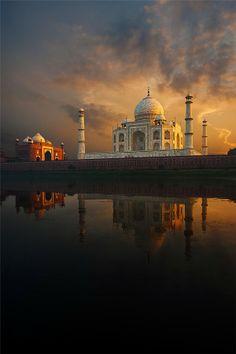 View of Taj Mahal Across River, Agra India