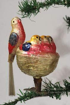 Vintage Christmas birdie and nest glass clip ornament...love!