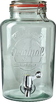 The Original Kilner Drink Dispenser: Made of glass so it won't stain or absorb odors, it features a quick-pour spigot on the side, a decorative embossed design, and a clip top with an airtight rubber seal to keep your favorite beverage fresh and flavorful.