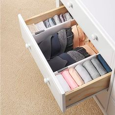 Drawer Divider - The One Thing I Bought (& Still Use!) After KonMari-ing My Entire Home Dresser Drawer Organization, Home Organisation, Diy Drawer Dividers, Organization Ideas For The Home, Organizing Ideas, College Closet Organization, Clutter Organization, Storage Ideas For Bathroom, Organizing Kitchen Drawers