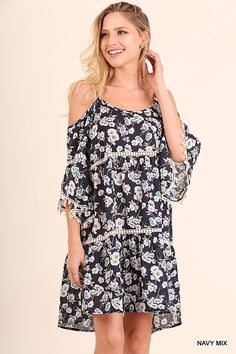 3d556b839a3 Umgee Floral Cold Shoulder Floral Dress with Pom Pom Details