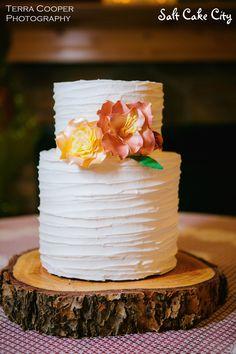 Salt Cake City (www.SaltCakeCity.com) Rustic lined wedding cake with sugar flowers Sugar Flowers, Wedding Cakes, Cake Ideas, Desserts, Salt, Rustic, City, Food, Tailgate Desserts