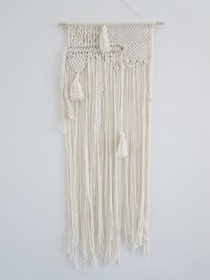 Macrame Wall Hanging,Tassels, Gift for her, Modern Macrame, Boho chic, Nat  ural Cotton ,Modern Home Decor, Texture and Layering