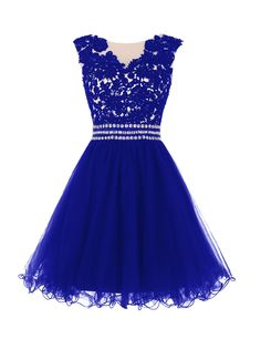 Dressystar Women's Lace Appliques Prom Party Homecoming Dresses with Beaded Waist Size 26W Royal blue