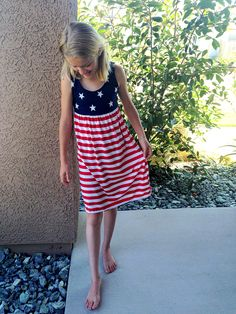 4th Of July Mother Daughter USA Flag Chevron Maxi Boho Long Evening Party Dress