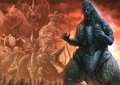 All Godzilla Monsters, Godzilla Wallpaper, Great Albums, Weird Creatures, King Kong, Thriller, Science Fiction, Artwork, Anime Meme