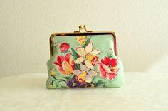 Novelty floral Frame purse in light green