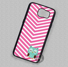 Cartoon Owl on Pink Chevron - Samsung Galaxy S7 S6 S5 Note 7 Cases & Covers