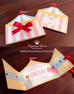 Convite para festa infantil no tema circo de menina em tons pastéis / circus party invitation for girls Candy Colors