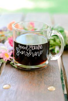 Good Morning Sunshine Glass Coffee Mug Glass Mug Hand