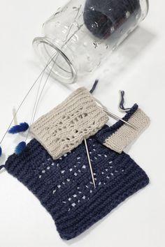 Seed Stitch Washcloth, patrón de tejido gratuito para principiantes con hilo de algodón 100%, de Liz @PurlsAndPixels Geek Stuff, Weaving Patterns, Tejidos, Blue Prints
