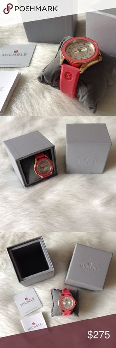 LAST DAY! Michele pink watch Brand new, never used. Comes with its original box and care cards. Michele Accessories Watches
