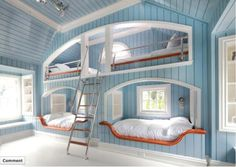 Blue Bunk-beds. That is a lot of little boys!-----------WHAT!!??NO!!I would love that and I'm a girl!!
