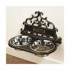 Personalized wall-mount dog food dishes (www.amazon.com)