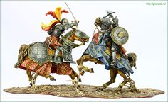 F34_19_02German knight facing Guardsman of Sultan Suleiman The Magnificent. Siege of Vienna, 1529