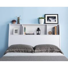 Shop for Tara White Bookcase Headboard. Get free delivery On EVERYTHING* Overstock - Your Online Furniture Shop! Bookcase Headboard Queen, Bookcase Bed, Headboard With Shelves, Gray Headboard, Bedroom Furniture Stores, Modern Home Furniture, Space Saving Furniture, Furniture Deals, Bed Furniture
