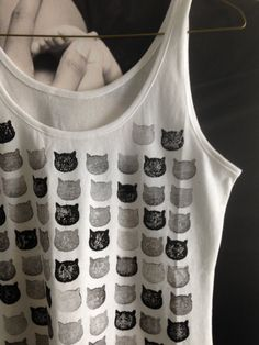 Hand Stamped block printed cat shirt by sordidillusion on Etsy