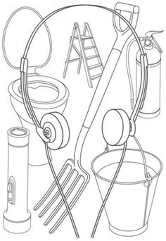Michael Craig- Martin: such a jumble of everyday objects, so neatly organised and categorized, with the headphones forming a kind of frame. Tiny ladder and toilet next to out sized spade and torch Outline Art, Outline Drawings, James Rosenquist, Michael Craig, Still Life Artists, Ligne Claire, Claes Oldenburg, A Level Art, Everyday Objects
