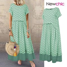 Cheap best O-NEWE Polka Dot Fake Two Pieces Summer Plus Size Maxi Dress on Newchic, there is always a plus size print dresse suits you! Plus Size Maxi Dresses, Short Sleeve Dresses, Striped Two Piece, Summer Outfits, Summer Dresses, Themed Outfits, Plus Size Summer, Two Piece Dress, Mode Outfits