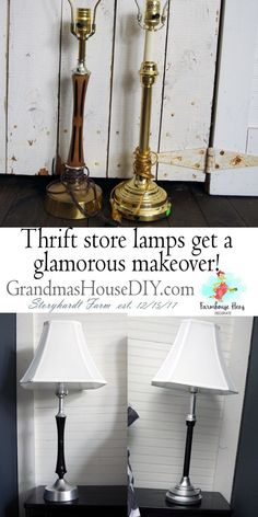 Two thrift store lamps from two different eras and places get new shades and a paint job that bring Spray Paint Lamps, Chrome Spray Paint, Outdoor Light Fixtures, Outdoor Lighting, Concrete Candle Holders, Lamp Makeover, Light Decorations, House Decorations, Lamp Shades