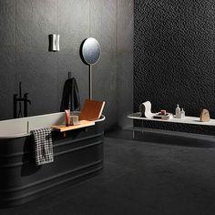 MARAZZI MYSTONE LAVAGNA Nero Bathtub, Bathroom, Google, Black, Bathroom Black, Porcelain Tiles, Stones, Standing Bath, Washroom